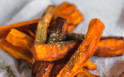 Sweet potato fries med timian citronsalt og dip